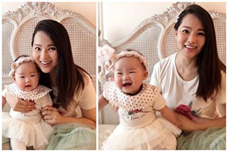 伊能静与五个多月的小米粒着母女装。(脸书图片/大纪元合成)
