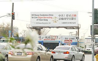 洛杉磯各街頭矗立「制止中共活摘」廣告牌