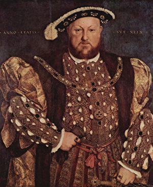 晚年的亨利八世。Hans Holbein der Jüngere 作品。(维基百科)