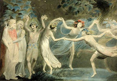 《仲夏夜之夢》奧布朗、提泰妮婭和帕克魚跳舞的仙子。(威廉•布雷克(Blake)╱維基百科)