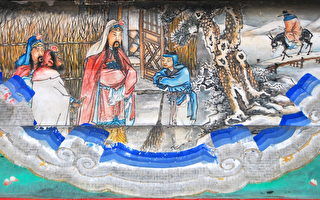 頤和園長廊上的彩繪:三顧茅廬。(公有領域)