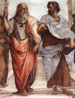 """柏拉图手指向天,象征他认为美德来自于智慧的""""形式""""世界。而亚里士多德则手指向地,象征他认为知识是透过经验观察所获得的概念。Raphael作于1509年。(维基百科)"""