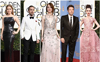 好莱坞众星均盛装出席第74届金球奖红毯。(Getty Images/大纪元合成)