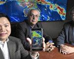 美国加州大学尔湾分校土木环境科学系台裔教授徐国麟(右),水文气象中心主任索鲁席安(中),指导助理教授阮富(左)研发,可预测降雨量手机软体iRain。(驻洛杉矶台北经济文化办事处科技组提供)