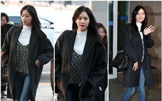 潤娥以一襲長版落肩大衣搭配早春新裝現身韓國仁川機場。(H:CONNECT/大紀元合成)