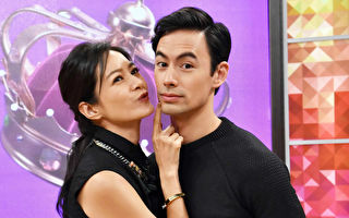 Janet(左)日前與夫婿George(右)一起參加節目錄影。(衛視中文台提供)