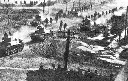中共(東北野戰軍)在九七式中戰車的掩護下進攻瀋陽沿線。(維基百科公有領域)