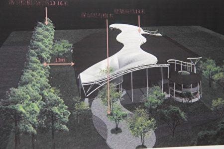 遮雨廣場與落羽松群高度比例。(郭千華/大紀元)