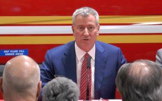 纽约市长白思豪(Bill de Blasio)公布,去年火灾死亡人数创历史新低。 (韩瑞/大纪元)