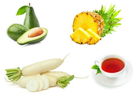 消除脹氣的食物:鱷梨,菠蘿,白羅蔔,紅茶。(Fotolia/大紀元合成)