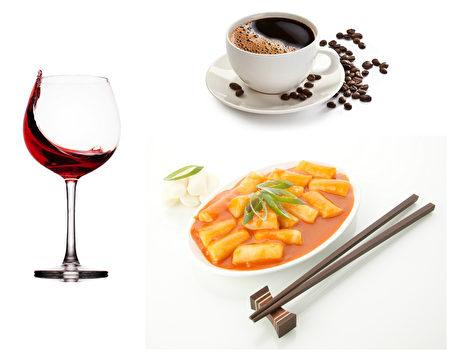 容易燒心的食品:酒類,咖啡,年糕。(Fotolia/大紀元合成)