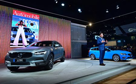 Lex Kerssemakers, president and CEO of Volvo Car USA, speaks in front of the new Volvo V60 at the Los Angeles Auto Show, in Los Angeles, California, November 17, 2016. The LA Auto Shows consumer days will be open to the public, November 18-27. / AFP / FREDERIC J. BROWN (Photo credit should read FREDERIC J. BROWN/AFP/Getty Images)