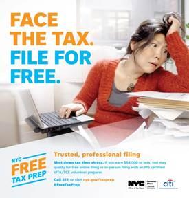 市消费局提供免费报税服务的宣传海报。