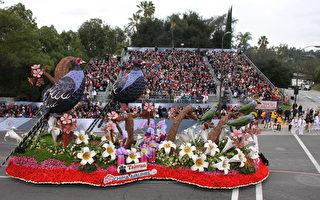 洛杉矶玫瑰花车游行 70万人亲临2800万收看