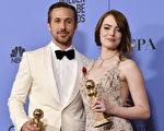 由高斯林(Ryan Gosling)和斯通(Emma Stone)主演的音乐电影获得七项金球奖。(Latour/REX/Shutterstock )