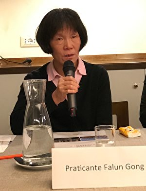 法轮功学员刘玉梅现场做证,揭露中共活摘器官罪行。(林达/大纪元)