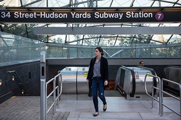 7号线在哈德逊园区的站台。 (Photo by Andrew Burton/Getty Images)