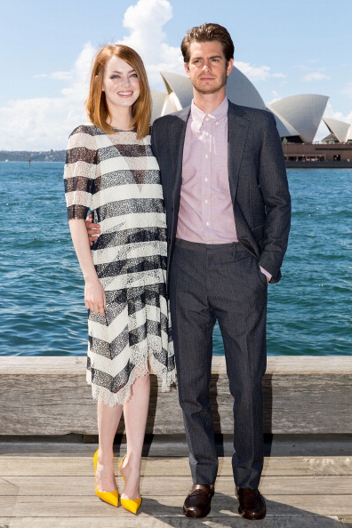 "SYDNEY, AUSTRALIA - MARCH 20: Emma Stone and Andrew Garfield at ""The Amazing Spider-Man 2: Rise Of Electro"" photocall on March 20, 2014 in Sydney, Australia. (Photo by Caroline McCredie/Getty Images)"