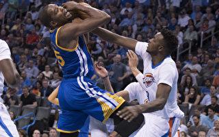 NBA杜兰特顶住嘘声  率勇士奥城轻取雷霆