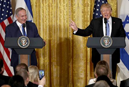 川普15日在白宫与以色列总理内塔尼亚胡(Benjamin Netanyahu)联合举行的新闻发布会。(Win McNamee/Getty Images)
