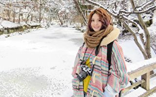 郭静赴日担任观光大使 零下四度躺雪初体验
