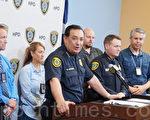 圖:休斯頓警察局局長Acevedo宣布Tom Brady被盜球衣墨西哥尋獲。(易永琦/大紀元)