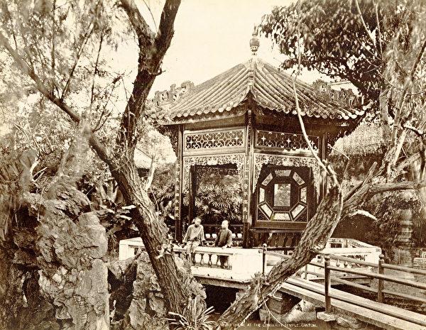 廣州雅真照相館,《廣州長壽寺的涼亭》(Summer House at Longevity Temple, Canton),攝於1870年代,銀鹽照片。(Courtesy of the Stephan Loewentheil Historical Photography of China Collection)