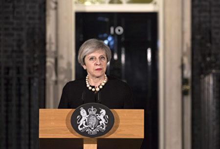 首相梅發表簡短演說。(Richard Pohle - WPA Pool/Getty Images)
