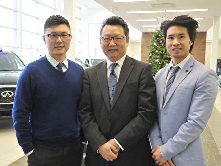 車行三位華人顧問:左源(Yuan Zuo)、黃明華(David Wong)和黃偉強(Ken Wong)(從左至右)(大紀元/黃蒲陽)。