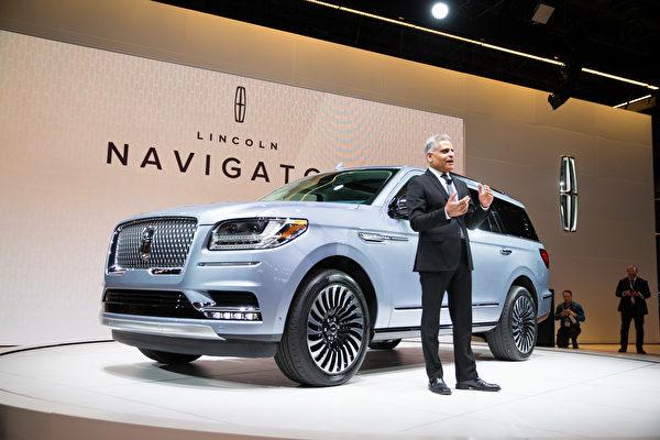 紐約國際車展新車發表2018 Lincoln Navigator。(戴兵/大紀元)