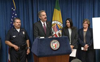 洛市檢察長福伊爾(Mike Fueur)4月19日表示,當局開始對部分幫派據點實施新一輪打擊。(李子文/大紀元)