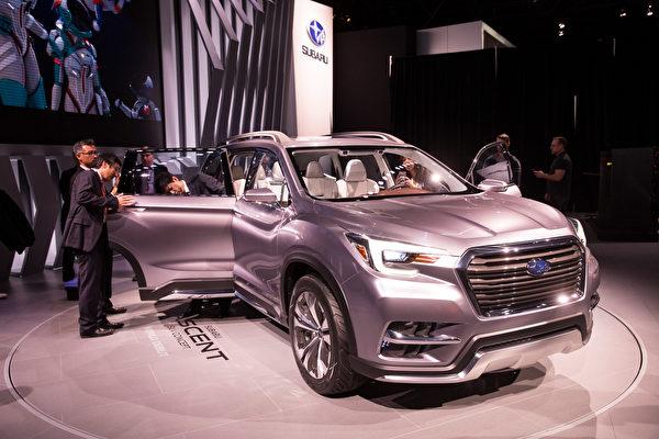 紐約國際車展新車發表,SUBARU Ascent SUV 。(戴兵/大紀元)