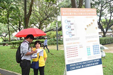 """2017年4月18日,新加坡部分法轮功学员,冒着小雨在芳林公园举行集体炼功、征签等活动,纪念""""四•二五""""万名法轮功学员和平上访十八周年。(苏每善/大纪元)"""
