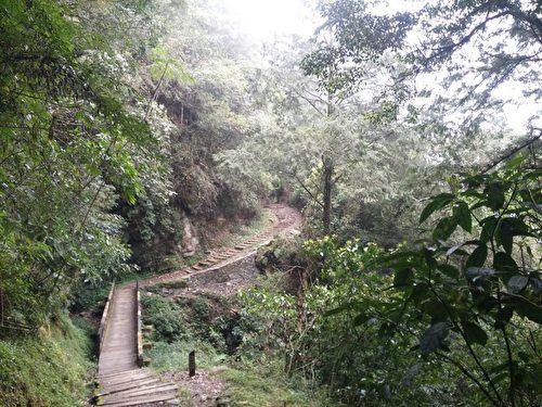 沿著古道,至今仍留有棧道與棧橋的遺跡。(曾玉/大紀元)