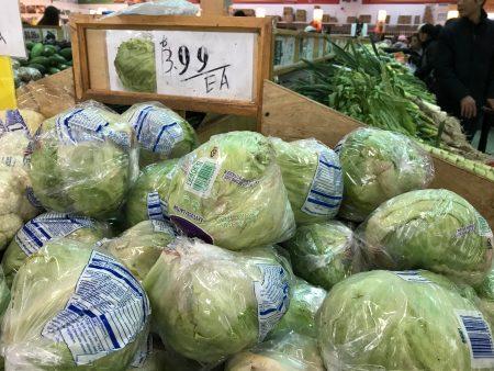 便宜时才卖9毛9一包的圆生菜近期涨到3.99美元一包。