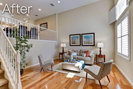 免费做室内美饰布置后,让房屋焕然一新。(湾区地产经纪Jean Zhu提供)