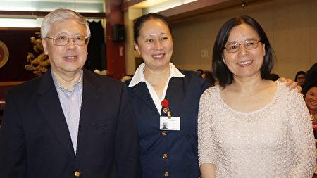 (左起)中华颐养院前任行政主任陈逢想、院长陈力、护士长赵若兰。(廖述详/大纪元)