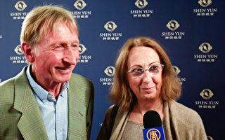 2017年5月6日下午,Viktor Cumpelik和Christine Cumpelik夫婦,在維也納城堡劇院(Burgtheater)觀看了神韻演出。(新唐人電視台)