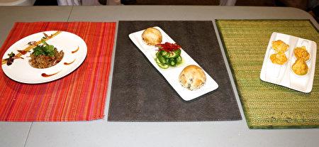 现场烹饪的(右起)黄金泡菜、台式胡椒饼、五香蒸油饭。(贝拉/大纪元)