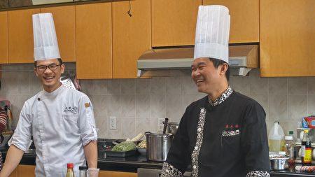 2017年温哥华台湾美食厨艺巡回讲座现场,两位名厨温国智与李建轩与观众互动。(邱晨/大纪元)