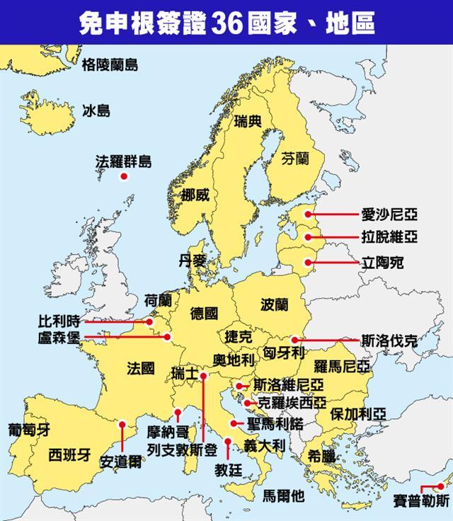 申根區包含36個國家及地區。(大紀元製圖)