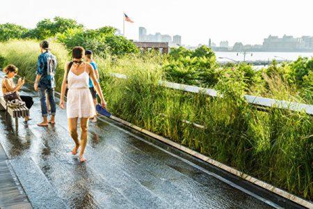 高線公園由廢棄高架鐵路改建而成,是一個長的曲線型公園,離地面約兩層樓高。上面綠化很好,且鬧中取靜,是一座漂亮的空中走廊。