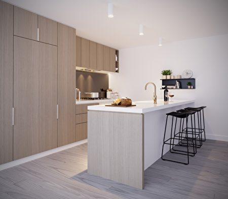 Victoria Square高地广场公寓内的厨房样板间。(Growland提供)