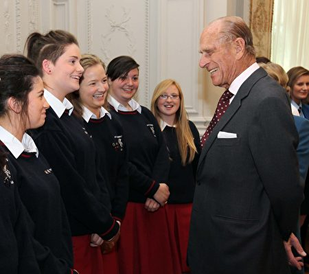 DUBLIN, IRELAND - MAY 19: Prince Philip, Duke of Edinburgh meets students from St. Dominic's College during the Reception for members of Gaisce the President's Award at Farmleigh House on May 19, 2011 in Dublin, Ireland. (Photo by Irish Government - Pool/Getty Images)