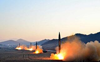 外媒最新消息稱,朝鮮高官在內部演講中聲稱,新型導彈火星12號「研發成功」,已將整個中國納入朝鮮的核武器射程範圍。圖為朝鮮3月6日試射4枚導彈。(STR/AFP/Getty Images)