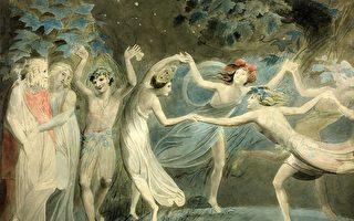 《仲夏夜之夢》──〈仙女舞蹈〉,奧布朗、提泰妮婭和帕克與跳舞的仙子,威廉.布雷克(Blake)約1786繪製。(維基百科)