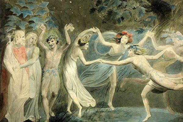 《仲夏夜之梦》──〈仙女舞蹈〉,奥布朗、提泰妮娅和帕克与跳舞的仙子,威廉.布雷克(Blake)约1786绘制。(维基百科)
