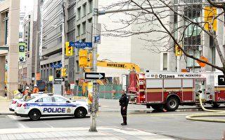 渥太华市中心天然气泄露现场。(任侨生/大纪元)