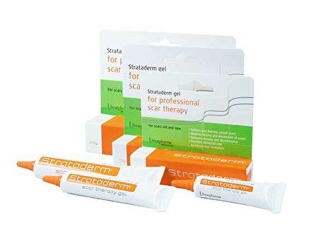 Strataderm是一种医疗级别的硅胶产品,在有疤痕的肌肤上涂上薄薄的一层,晾干后会形成一层透明的、有弹性的和透气性好的硅胶层附着在皮肤上。(Strataderm提供)
