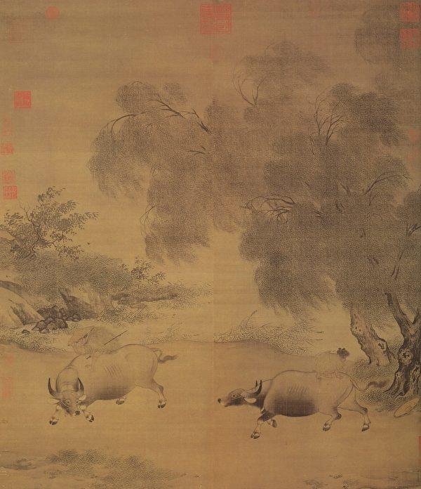 宋 李迪《风雨归牧图》,今藏台北故宫博物院。(公有领域)